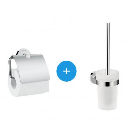 Hansgrohe Logis Universal Pack brosse WC + Porte-papier toilette, Chrome (41722000-DUOLOGIS)