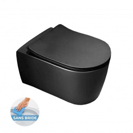 Idevit Alfa WC suspendu sans bride avec fixations invisibles + abattant ultra fin déclipsable Softclose, finition noire (AlfaBLRimless)