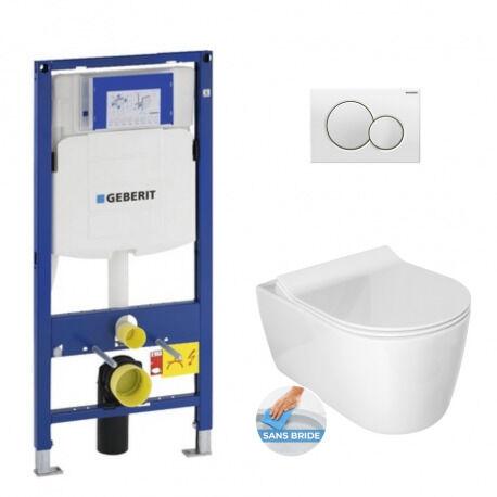 Geberit Pack WC Bâti-support avec Cuvette Idevit Alfa sans bride et fixations invisibles + Abattant + Plaque blanche (GebAlfa-B)