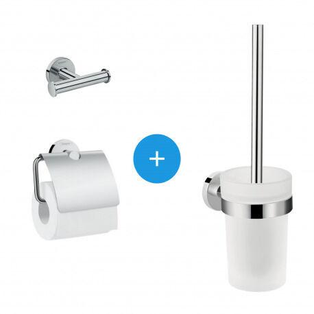 Hansgrohe Logis Universal Pack Brosse WC + Patère salle de bains + Porte-papier toilette, Chrome (41722000-TRIOLOGIS)