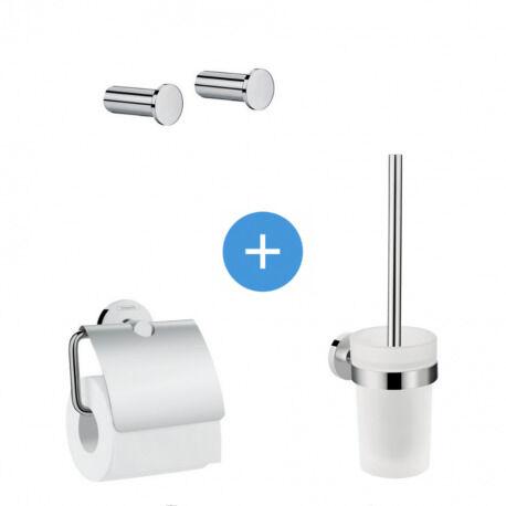 Hansgrohe Logis Universal Pack Brosse WC + Lot de 2 Patères salle de bains + Porte-papier toilette, Chrome (41722000-QuadrioLogis)