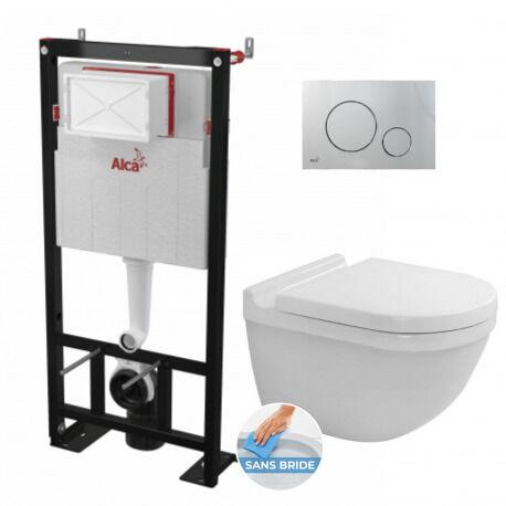 Alca Pack Bâti autoportant+ WC Duravit Starck3 sans bride fixations invisibles+ Abattant softclose+ Plaque Chrome mat (AlcaStarck3-5)