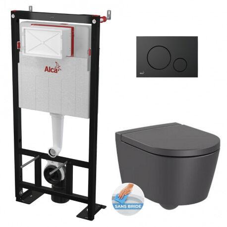 Alca Pack WC Bâti autoportant + WC Roca Inspira onyx sans bride fixations invisibles + Abattant + Plaque noire mat (AlcaInspiraO-2)