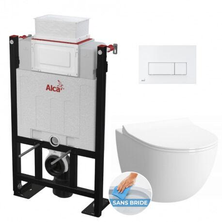 Alca Pack WC Bâti 85 cm autoportant + WC Vitra Sento sans bride et fixations invisibles + Plaque blanche (Alca85Sento-4)