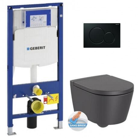 Geberit Pack WC Bâti-support + WC Roca Inspira onyx sans bride fixations invisibles + Abattant softclose + Plaque noire (GebInspira0-A)
