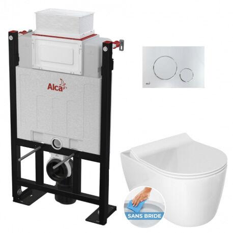 Alca Pack WC Bâti 85 cm autoportant + WC Idevit Alfa sans bride fixations invisibles + Plaque chrome brillant (Alca85FAlfa-5)