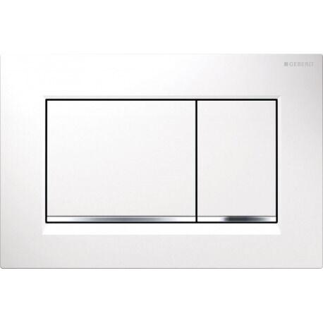 Geberit Plaque de déclenchement à double touche pour chasse d'eau Sigma 30, blanc/chromé brillant/blanc   (115.883.KJ.1)
