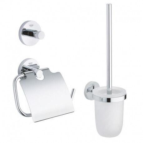 Grohe Essentials Set d'accessoires 3 en 1 : Patère murale + Brosse WC et support + Support papier-toilette, chrome (40407001)