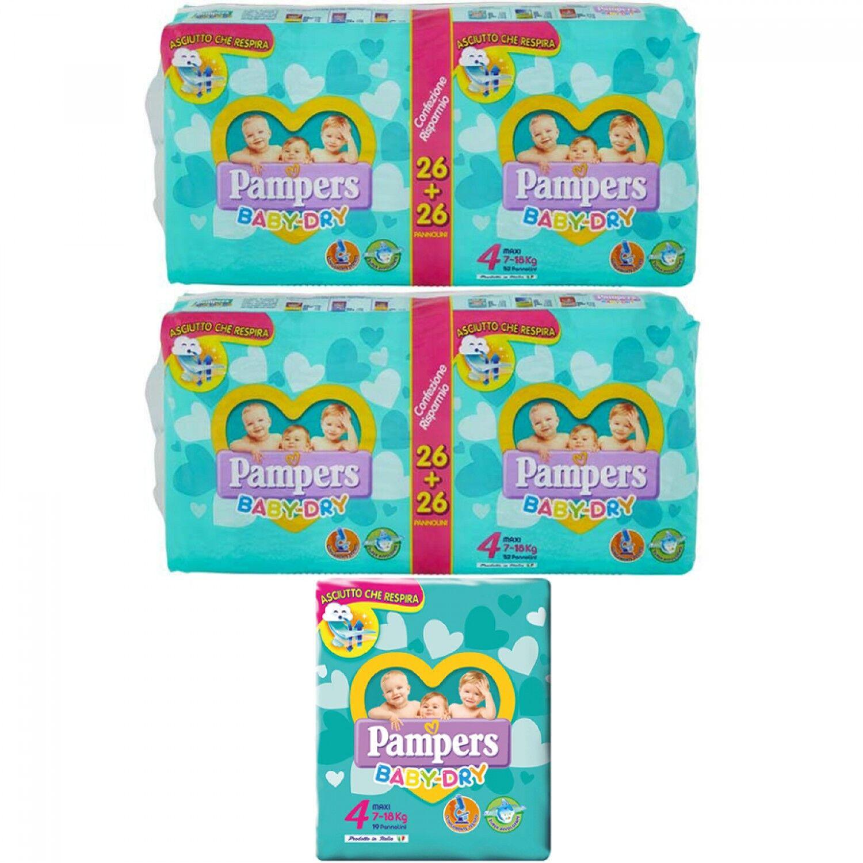Pampers Couches sèches bébé 4 paquets resp 2