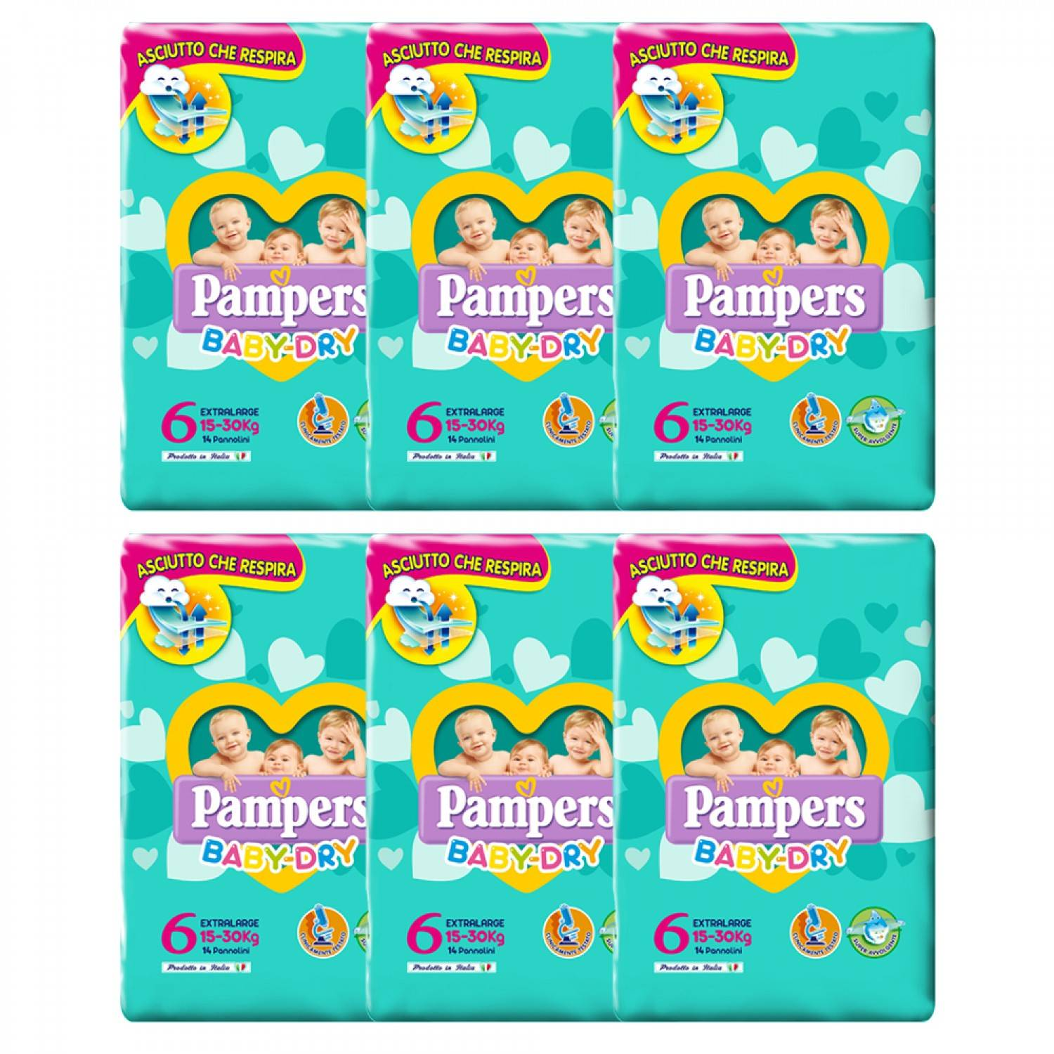 Pampers Baby Dry ExtraLarge Diaper Kit 15-30 Kg Taille 6-6 Paquets de 14pcs