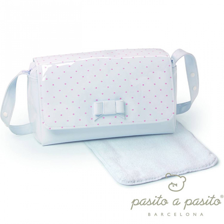 Pasito a Pasito Sac + Matelas à langer Pasito a Pasito Topito en Eco-cuir Pink Pois /