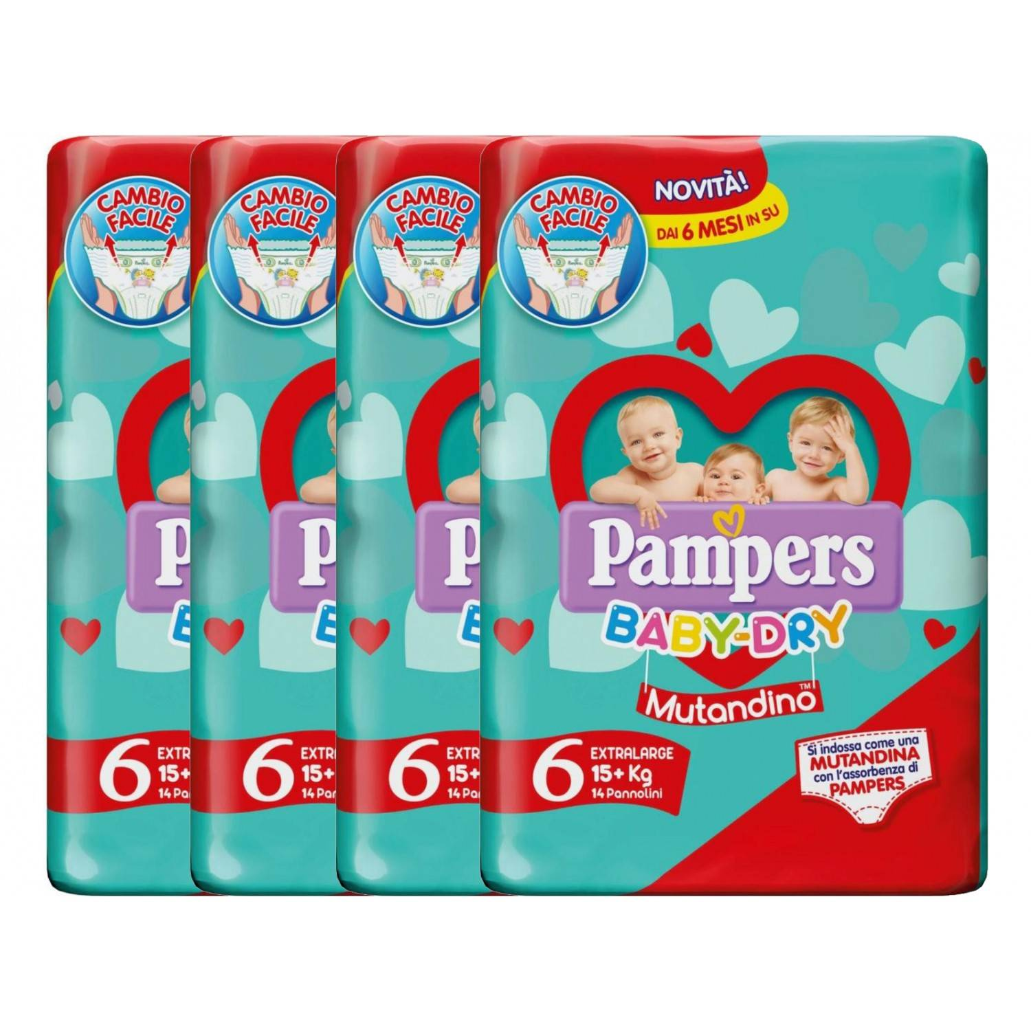 Pampers Baby Dry Diaper Kit 15+ Kg Slip Taille 6-4 Packs de 14pcs
