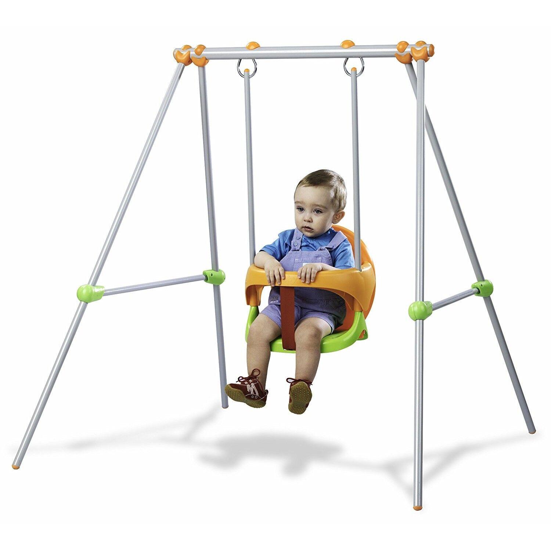 Smoby Jeu De Plein Air Balançoire Portique Métal Baby Swing