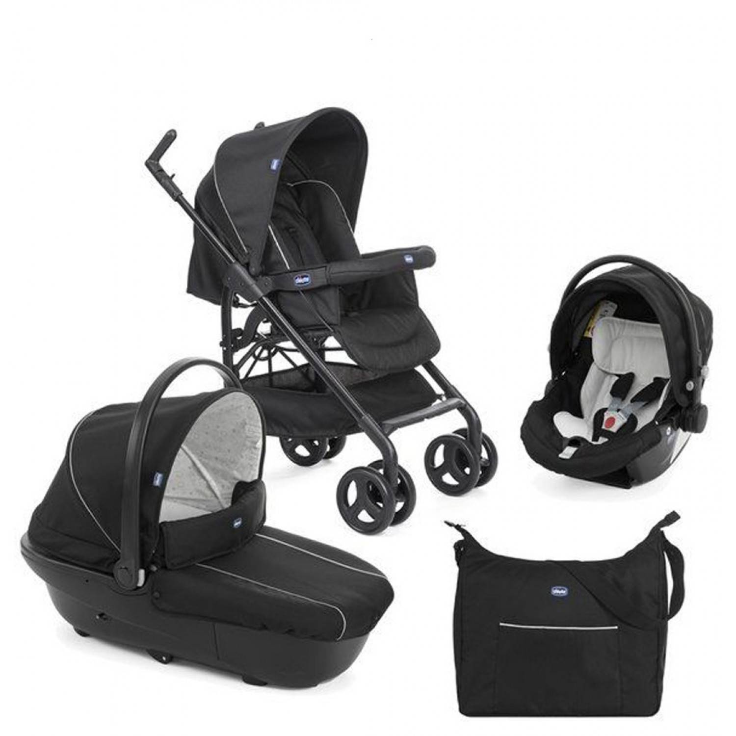Chicco Trio Sprint Poussette Black Night Noir + Kit Car