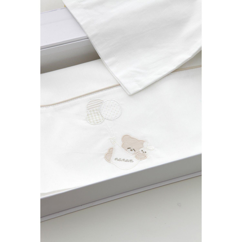 Nanan Ensemble de draps Nanan pour lit bébé ballon blanc
