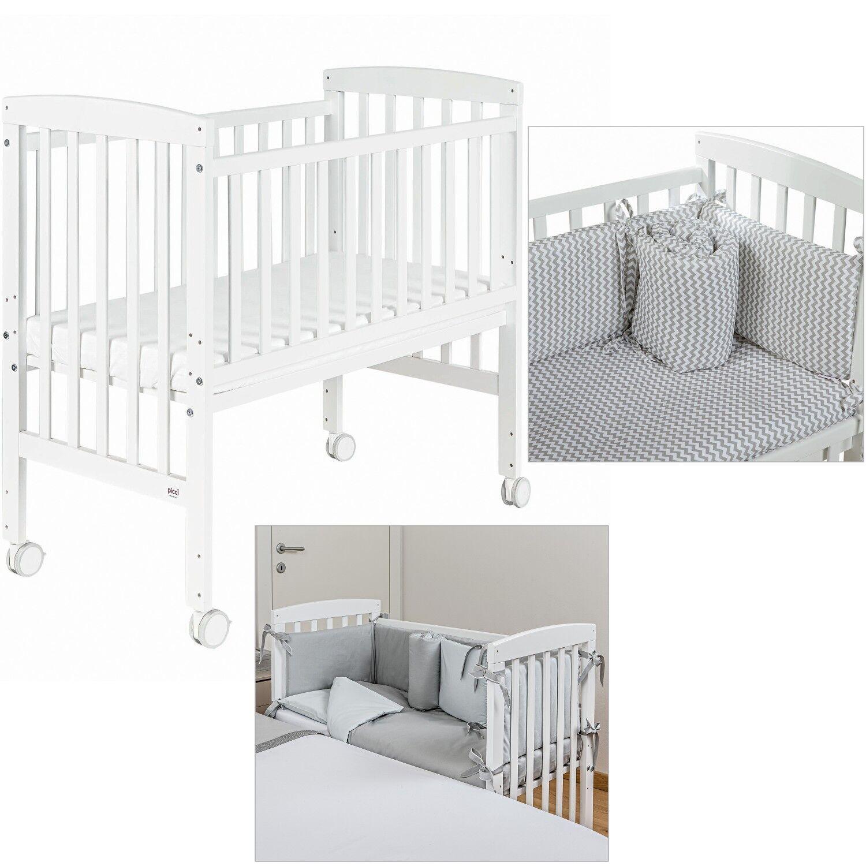 Picci Lit bébé + matelas Picci Lella et textile Zig Zag gris