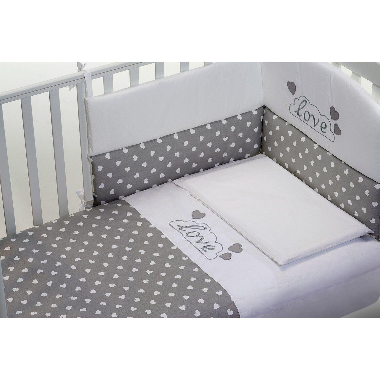 Baby Fashion Parure de lit Baby Fashion Love 3pcs Blanc Gris