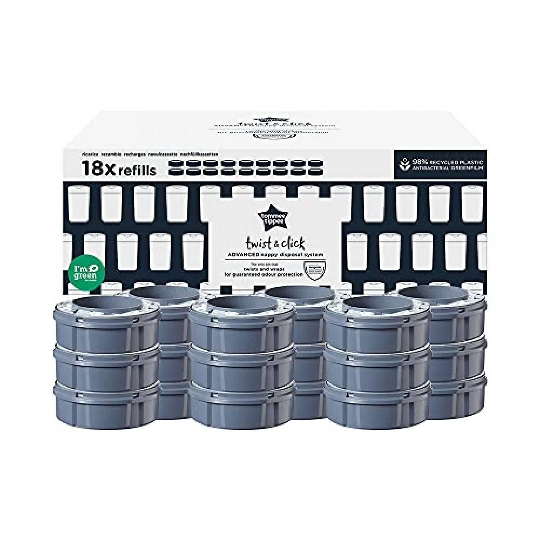 Tommee Tippee SANGENIC Lot de 18 recharges pour poubelle à couches Tec Tommee tippee