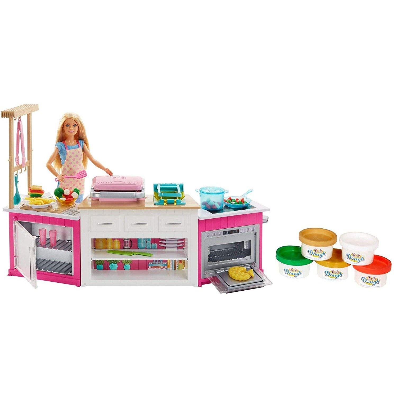 Barbie Métiers Coffret Poupée Cheffe Avec Kit Cuisine Comprenant Four Accessoire