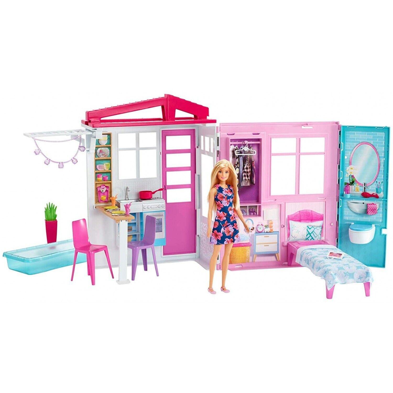 Barbie Mobilier coffret maison de plain-pied à emporter avec piscine