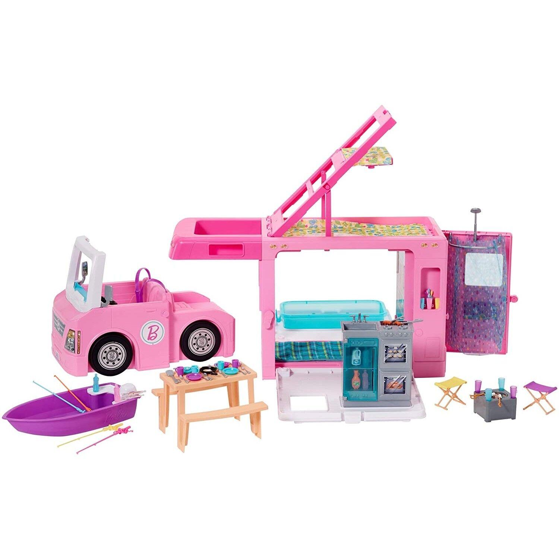 Barbie Mobilier Camping-Car de Rêve 3-en-1 pour poupées