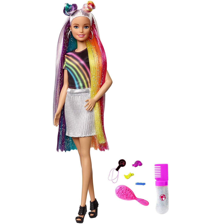 Barbie poupée Chevelure Arc-en-ciel Paillettes avec long cheveux colorés,
