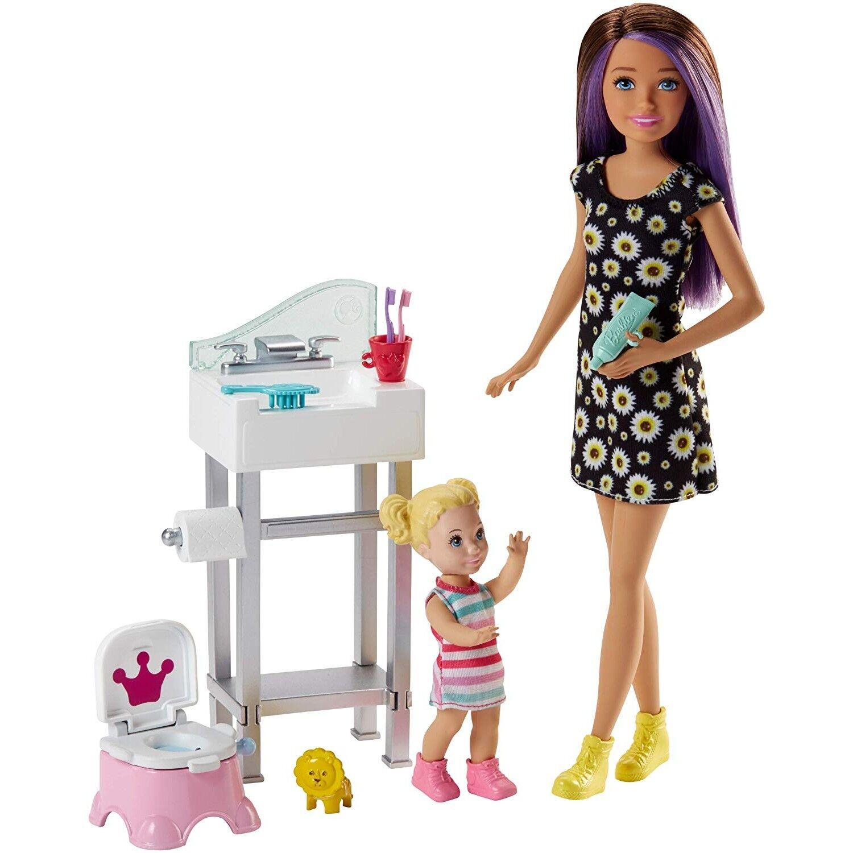 Barbie baby-sitter apprentissage du pot avec figurine de fillette blonde