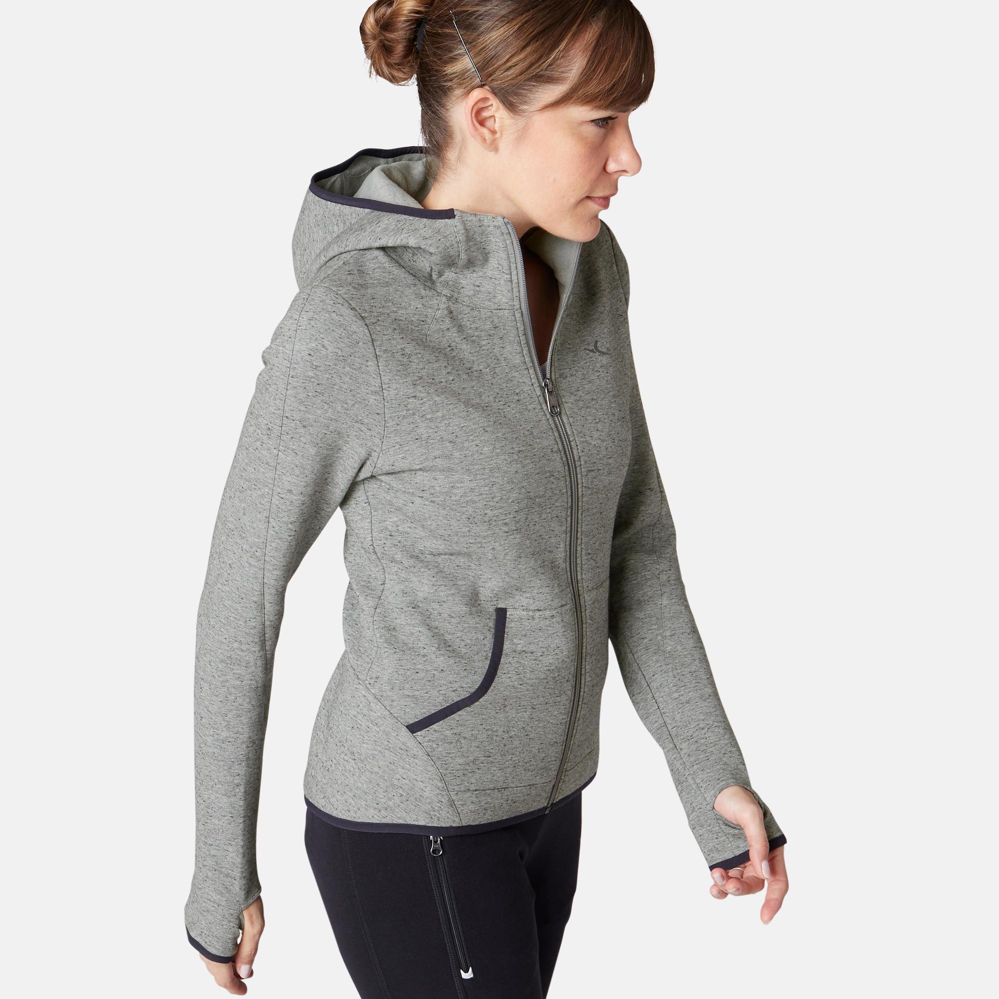 Domyos Veste 900 spacer capuche Pilates Gym douce femme gris - Domyos