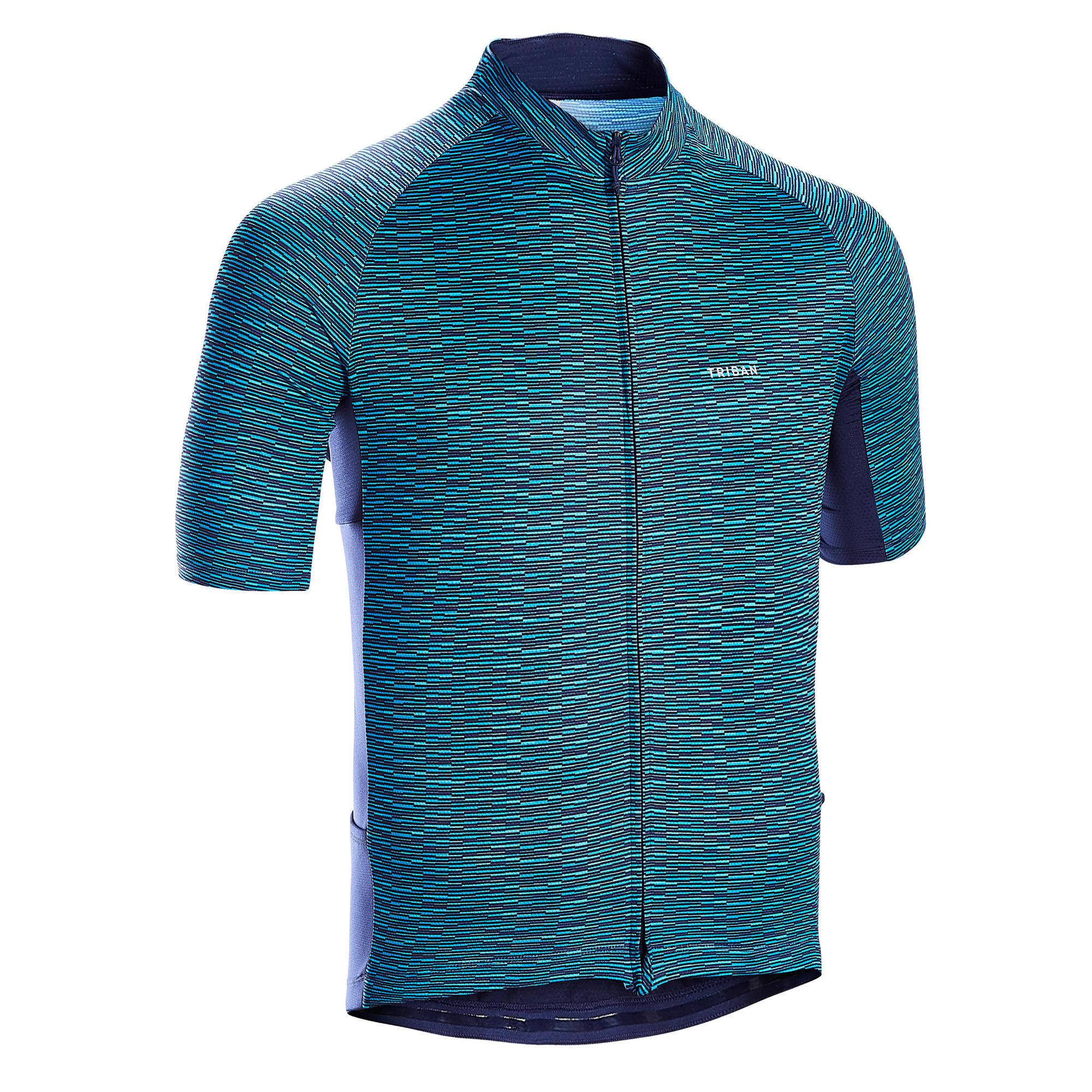 Triban MAILLOT MANCHES COURTES VELO ROUTE TPS CHAUD TRIBAN RC100 SNOW BLEU - Triban