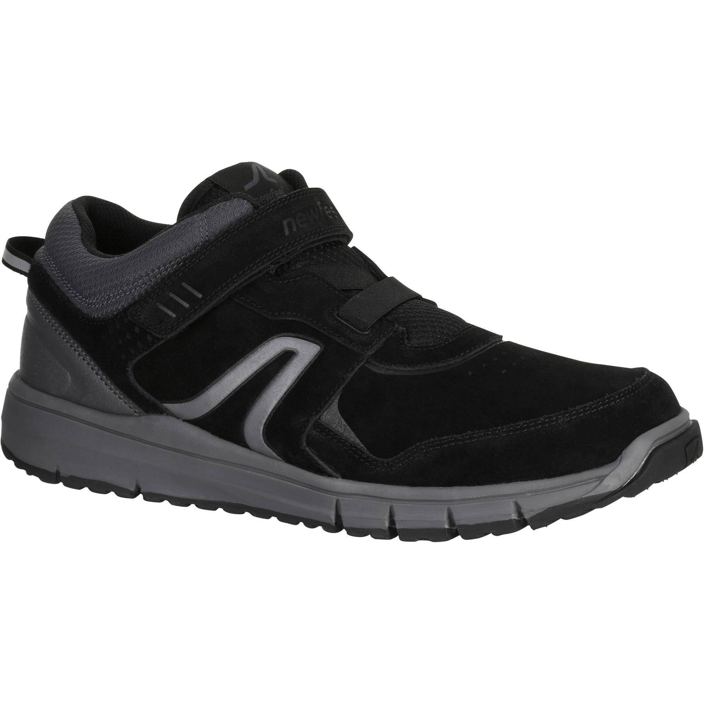 Newfeel Chaussures marche sportive homme HW 140 Strap cuir noir - Newfeel