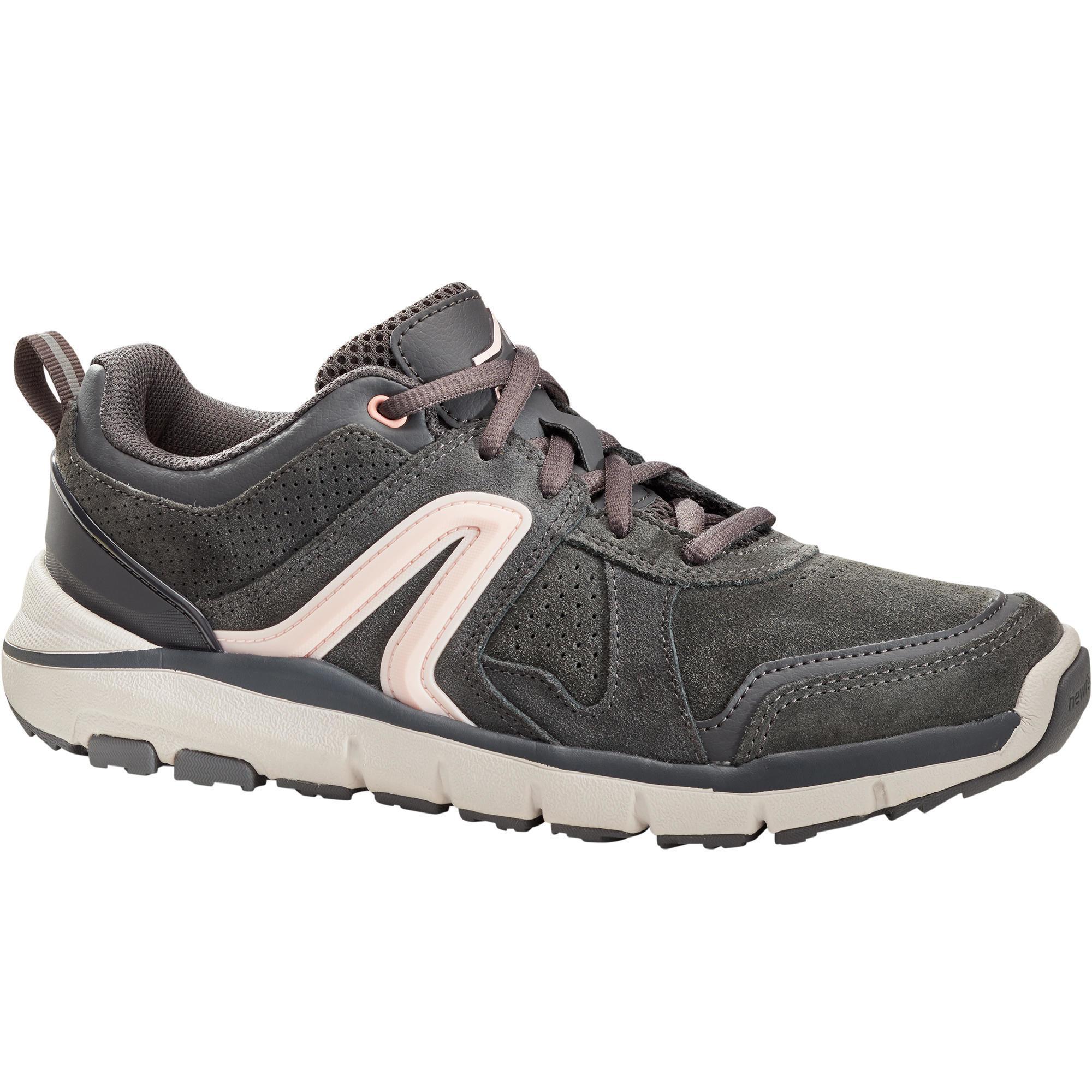 Newfeel Chaussures marche sportive femme HW 540 cuir gris foncé - Newfeel
