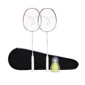 Perfly Set de 2 Raquettes De Badminton Adulte BR 190 Partner - Rouge/Bleu Foncé - Perfly
