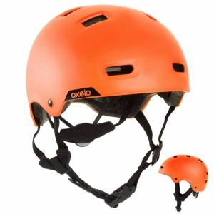 Oxelo Casque roller skateboard trottinette MF540 orange fluo - Oxelo