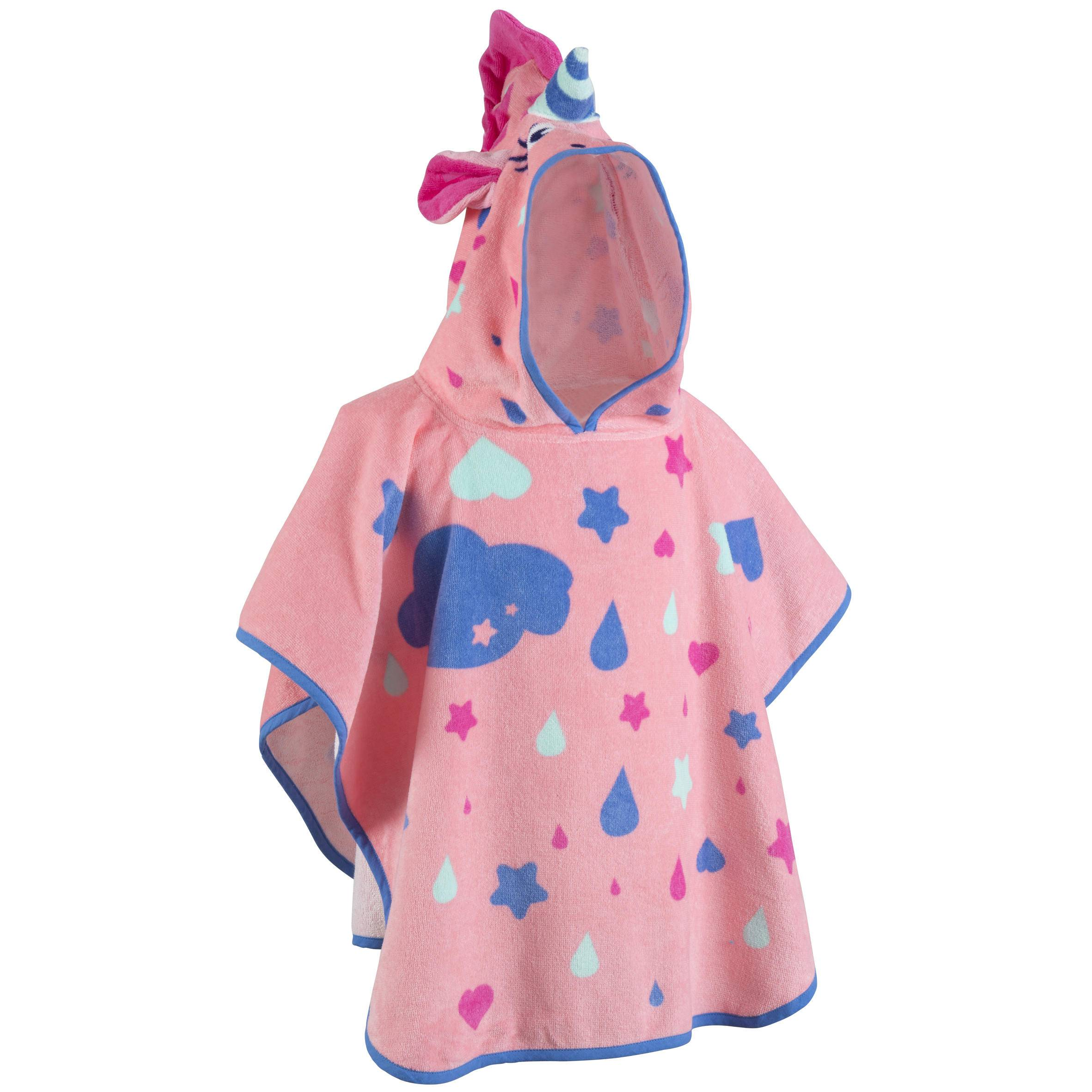 Nabaiji Poncho bébé avec capuche rose imprimé Licorne - Nabaiji