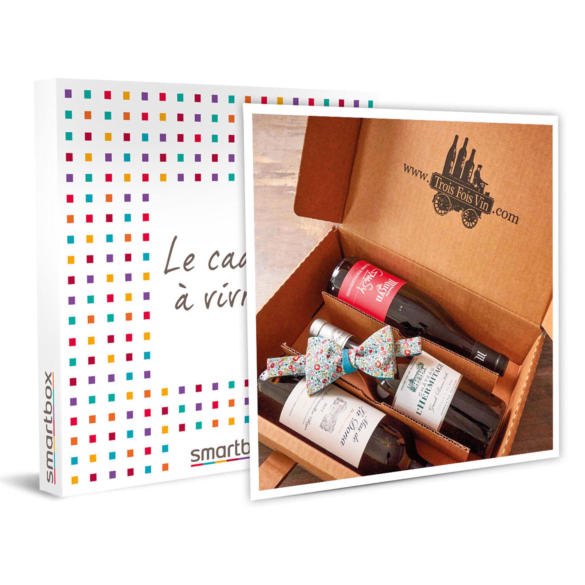 Smartbox Livraison mensuelle d'1 coffret de 3 bouteilles de vins et 1 livret dégustation pendant 3 mois Coffret cadeau Smartbox