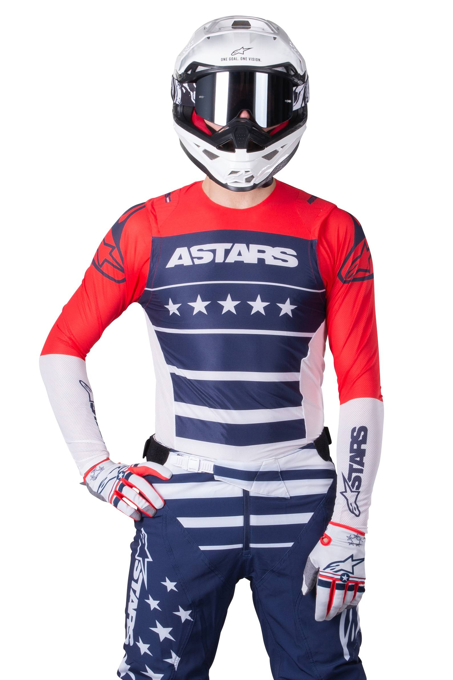 Alpinestars Maillot Cross Alpinestars Supertech Union Bleu-Rouge-Blanc