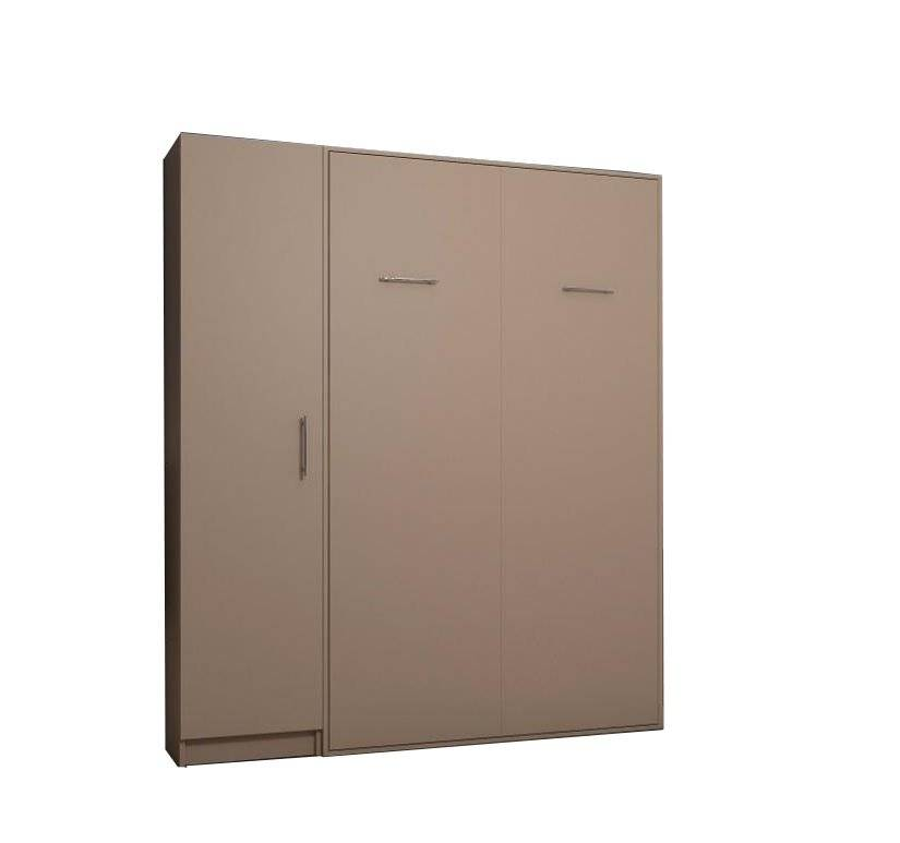 Inside75 Composition armoire lit escamotable SMART-V2 Taupe mat Couchage 140 x 200 cm colonne armoire