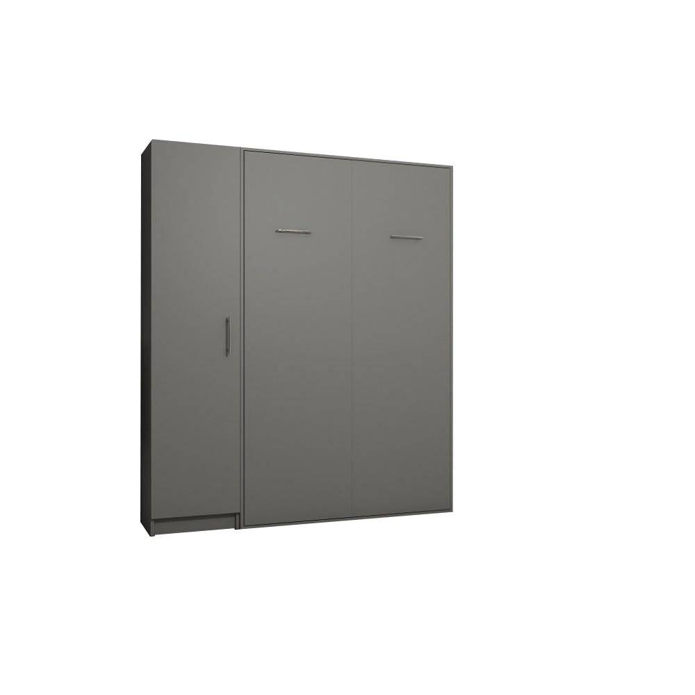 Inside75 Composition armoire lit escamotable SMART-V2 gris mat Couchage 140 x 200 cm colonne armoire