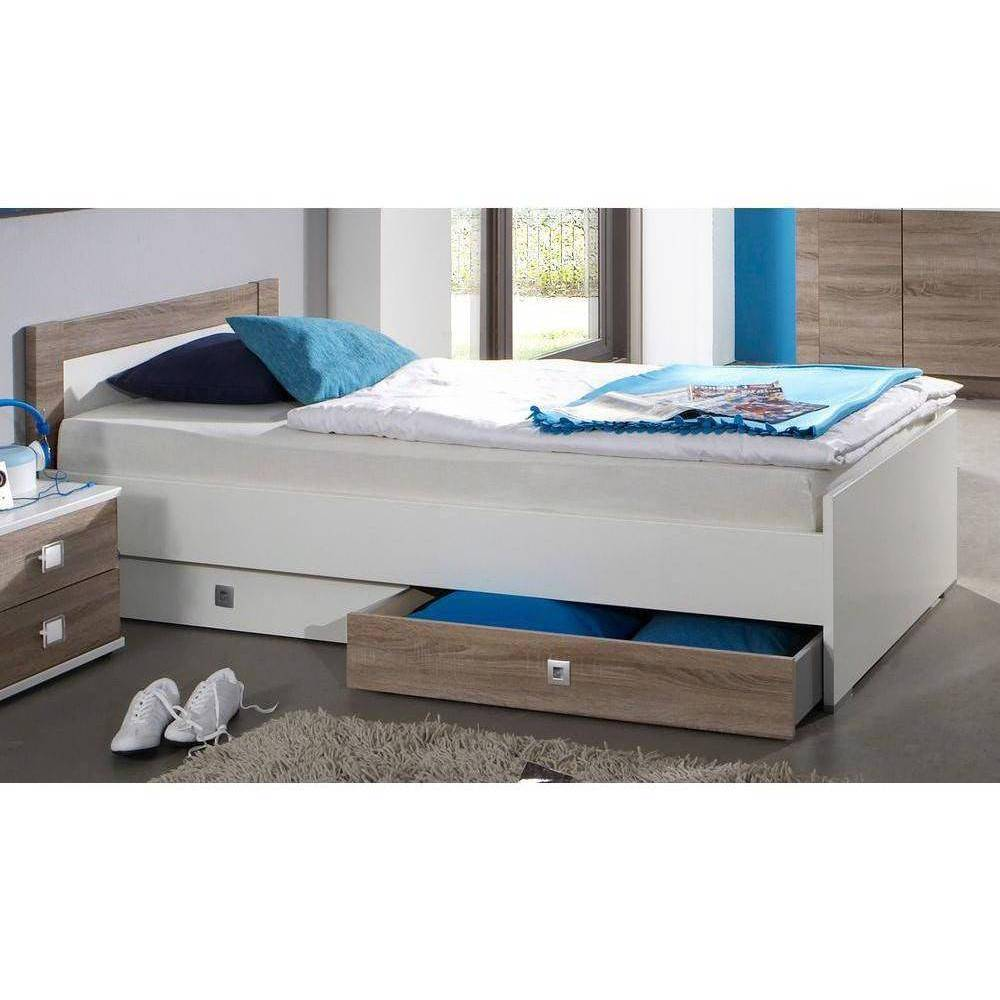 Inside75 Lit à tiroirs BUZZ chêne/blanc avec 1 chevet