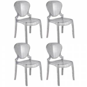 Lot De 4chaises Design LIGHT En Plexiglas Transparent