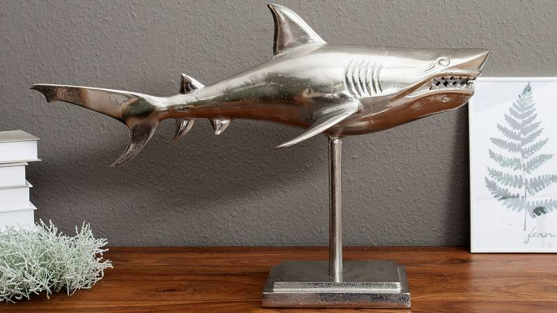gdegdesign Statue design sur pied requin argenté - Gary
