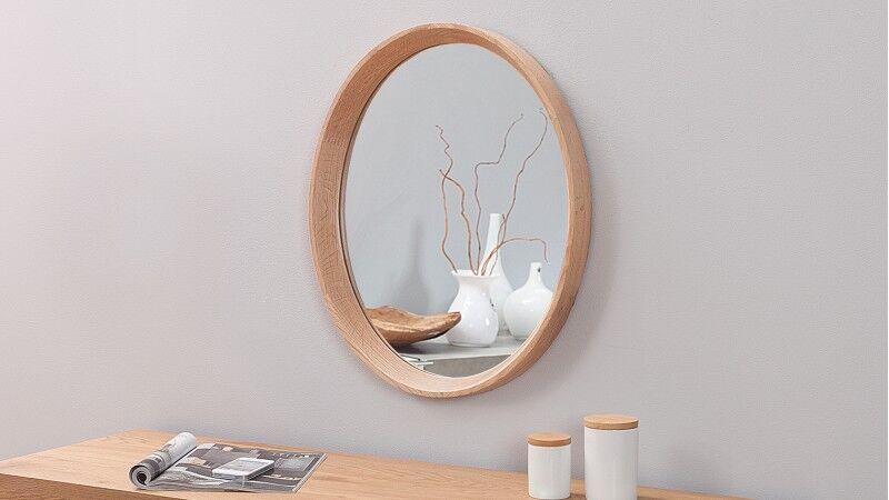 gdegdesign Miroir design ovale cadre bois de chêne - Memphis