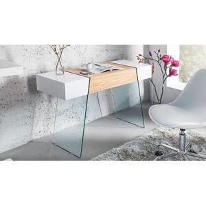 gdegdesign Console design 1 tiroir blanc brillant et bois de chêne avec verre - Varberg - Publicité