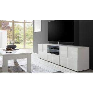 gdegdesign Meuble TV blanc laqué brillant 2 portes + 1 tiroir avec LED - Faust - Publicité
