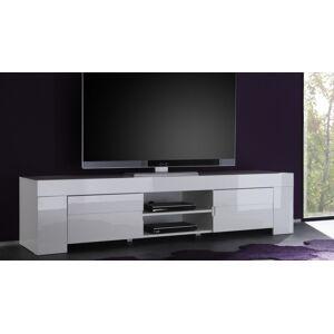 gdegdesign Meuble TV blanc laqué brillant 2 portes - Konrad - Publicité