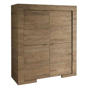 gdegdesign Buffet haut meuble de rangement couleur bois 4 portes - Karel - Publicité