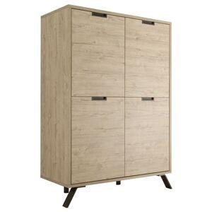 gdegdesign Buffet haut meuble de rangement couleur bois clair 4 portes - Vram - Publicité
