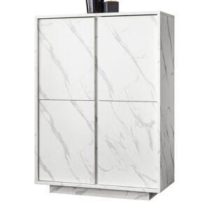 gdegdesign Buffet haut meuble de rangement marbre blanc marbré 4 portes - Ercole - Publicité