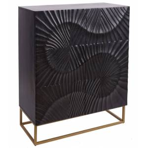 gdegdesign Buffet haut meuble de rangement bois massif gris anthracite façade sculptée - Piran - Publicité