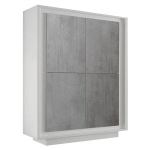 gdegdesign Buffet haut meuble de rangement béton et blanc mat 4 portes - Dov - Publicité